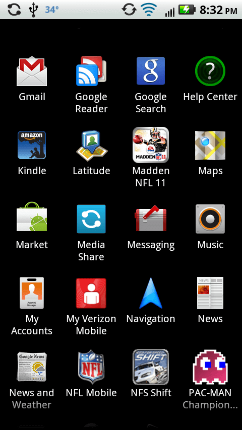 droid x app screen