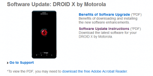 droid x update page