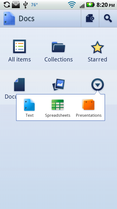 google docs for android main screen