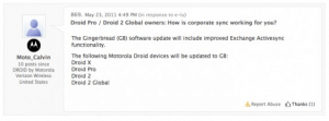 motorola support forum gingerbread update