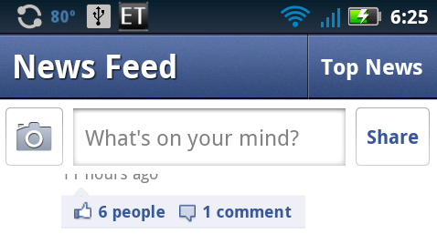 android facebook 1.6 new menu