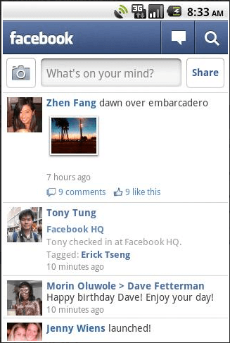android facebook 1.6 old menu