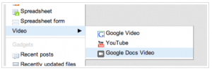 insert google docs video in google sites