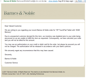 Barnes Noble Email Cancelling TouchPad