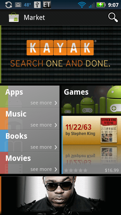 android market home screen