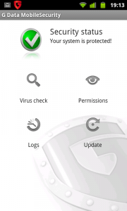 G Data Mobile Security Main Screen