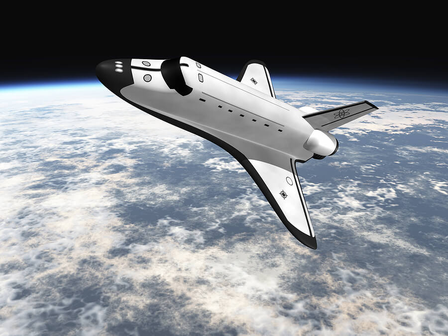 Bigstock space shuttle flying over eart 2873702 geek for Flying spaces