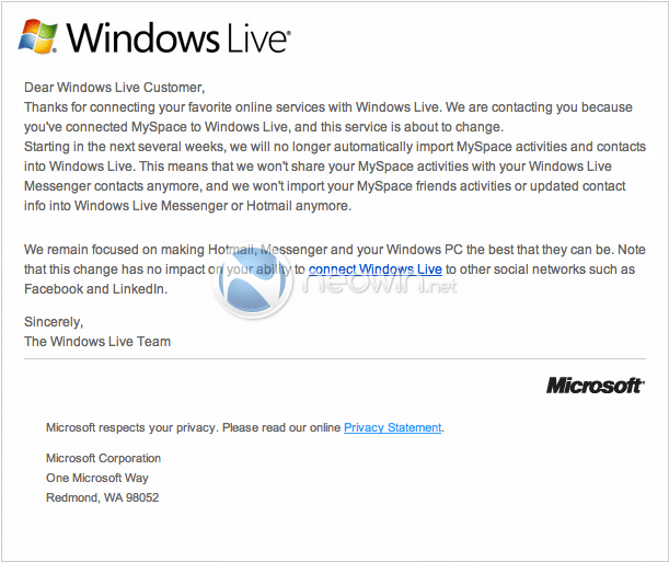 windows live myspace email