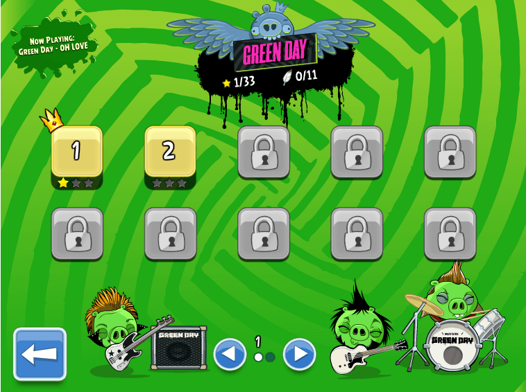 angry birds green day lelvels