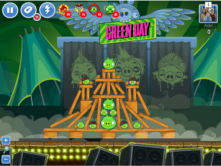 angry birds green day level 2