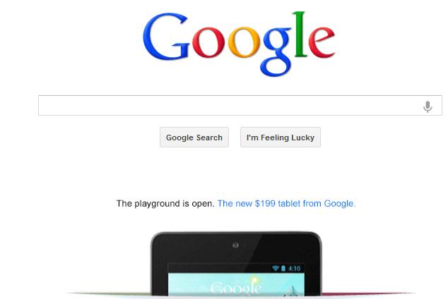 google home page nexus 7 ad