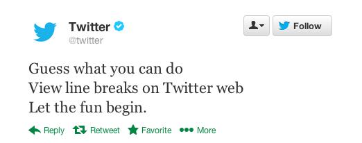 Twitter Line Breaks