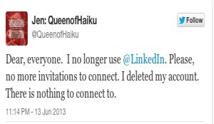 Jen LinkedIn Tweet
