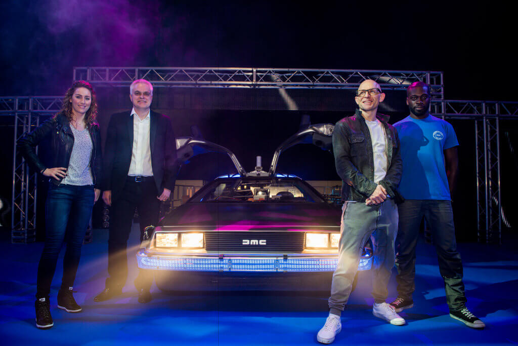 Presenters together - DeLorean