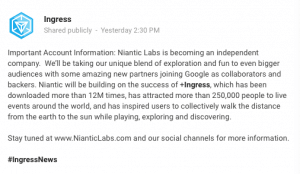 Niantic Labs Announcement