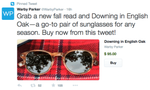 Warby Parker promoted ad with buy button