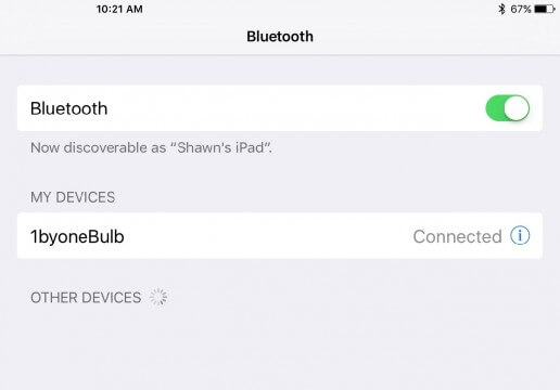 1byone LED bulb Bluetooth pairing