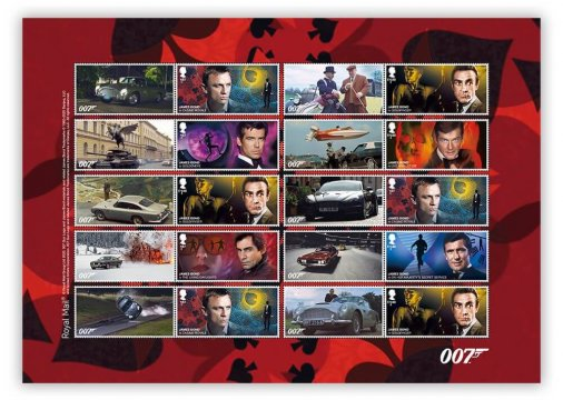 Stamps showing scenes from James Bond films