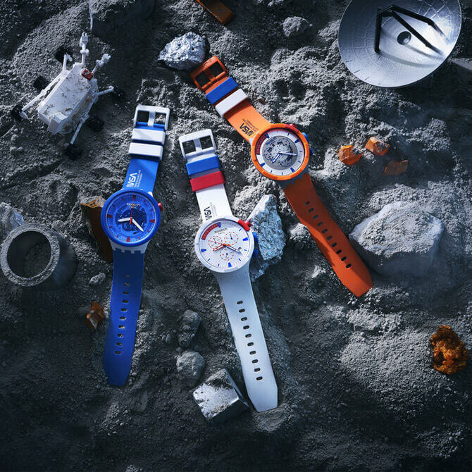 Three wristwatches on the lunar surface