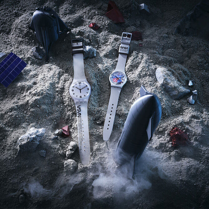 Two wristwatches on lunar surface